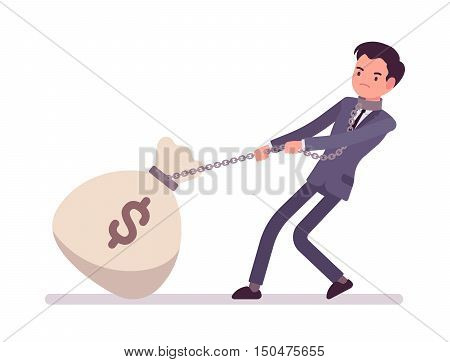 Businessman dragging a giant heavy money sack on a chain. Cartoon vector flat-style concept illustration