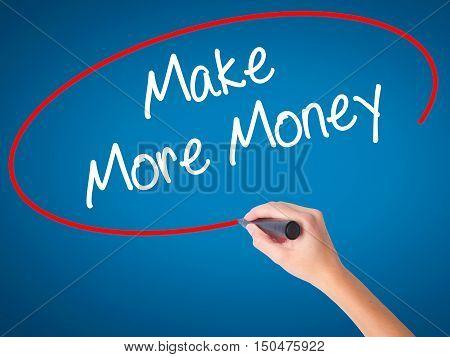 Women Hand Writing Make Money Money  With Black Marker On Visual Screen