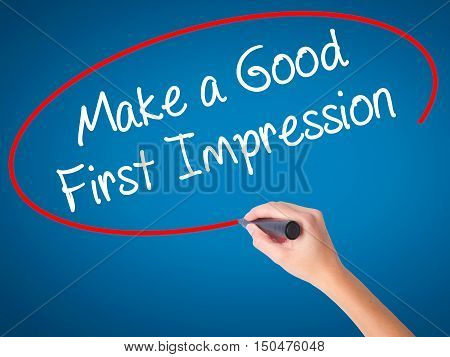 Women Hand Writing Make A Good First Impression With Black Marker On Visual Screen