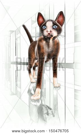 Siamese cat. The Siamese cat looks directly at the viewer. 3D illustration