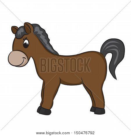 Cute Cartoon horse. Ungulates animals. Vector illustration