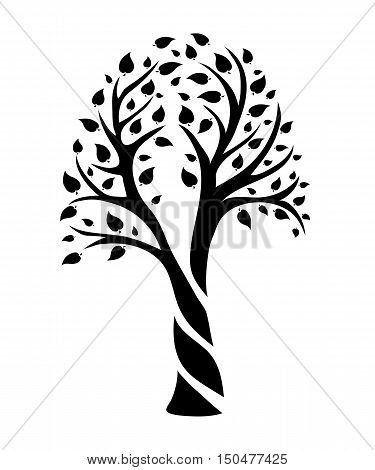 abstract isolated tree with leaves in the form of an oval