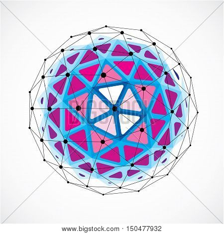 Vector Dimensional Wireframe Low Poly Object, Purple Spherical Shape With Black Grid. Technology 3D