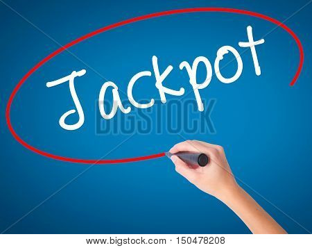 Women Hand Writing Jackpot With Black Marker On Visual Screen