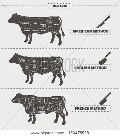 Cuts of beef. American, english and french method. Vector vintage monochrome illustration on a gray background.