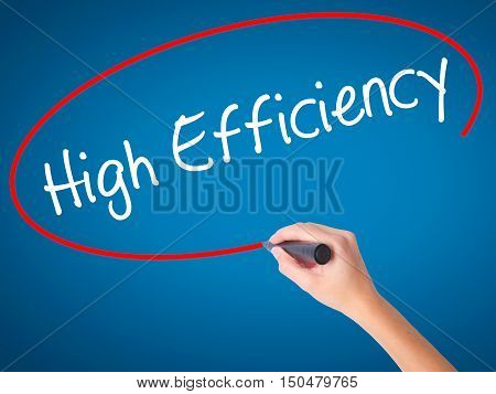Women Hand Writing High Efficiency  With Black Marker On Visual Screen