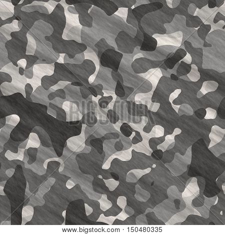 Abstract camouflage background - computer-generated image. Chaos spots and stains. Classic camouflage in black and white colors. For prints, backrops, covers.