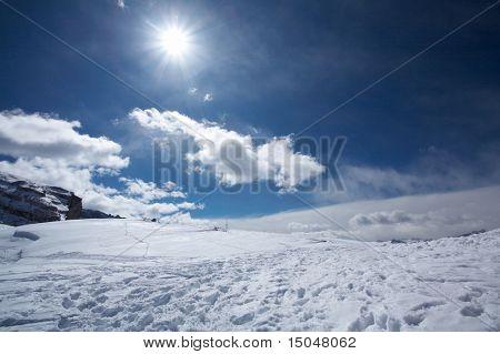 Beautiful mountain view of snowy Italian Dolomites