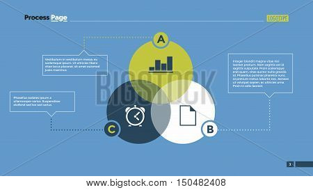 Infographic Venn diagram with ABC letters. Element of layout, presentation, diagram. Concept for infographics, business templates, reports. Can be used for topics like business strategy, analysis
