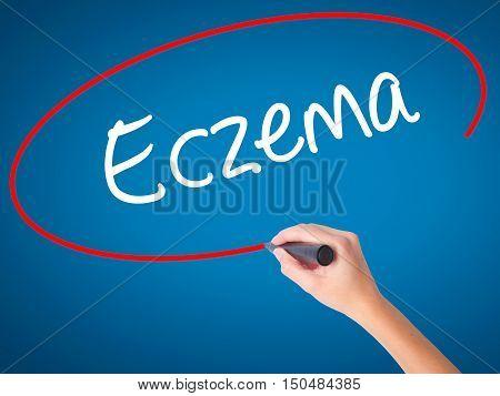 Women Hand Writing Eczema With Black Marker On Visual Screen