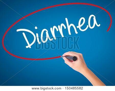 Women Hand Writing  Diarrhea  With Black Marker On Visual Screen