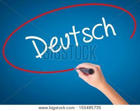 Women Hand Writing Deutsh (gerwomenin German) With Black Marker On Visual Screen