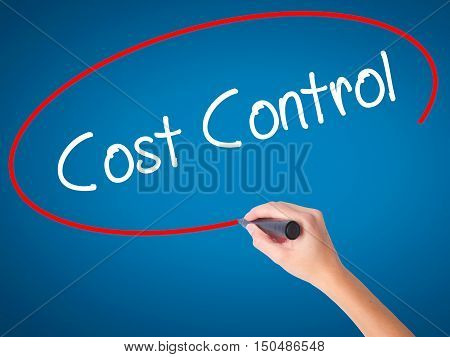 Women Hand Writing Cost Control With Black Marker On Visual Screen