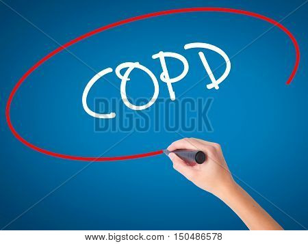 Women Hand Writing Copd With Black Marker On Visual Screen