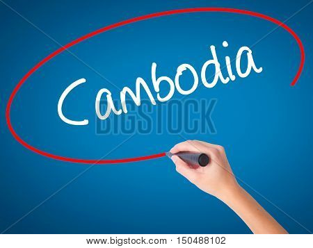 Women Hand Writing Cambodia  With Black Marker On Visual Screen