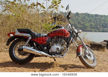 Indian Cruiser Motorcyle Gravel Embankment