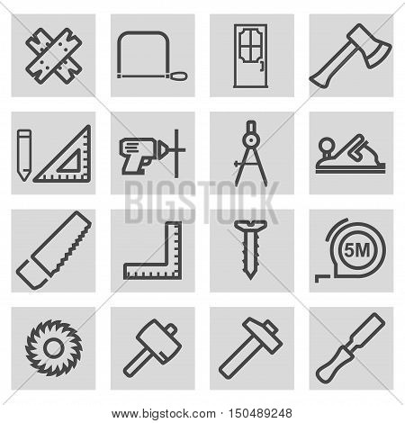 Vector black line carpentry icons set on grey background