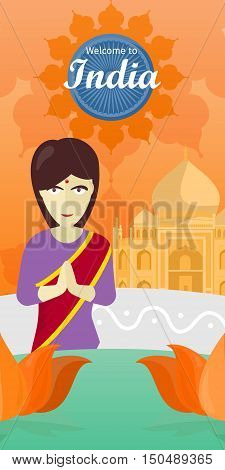Welcome to India banner. Indian woman opposite the temple. Indian girl with crossed hands in colorful robe. Lady from India in national yoga standing behind abstract lotus flowers. Vector illustration
