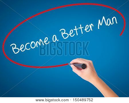 Women Hand Writing Become A Better Womenwith Black Marker On Visual Screen