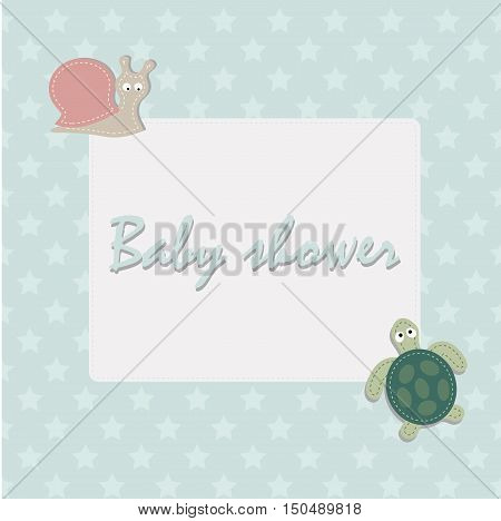 children's square frame for congratulations. Template page for the album or scrapbook. Baby vector illustration. Baby shower or arrival