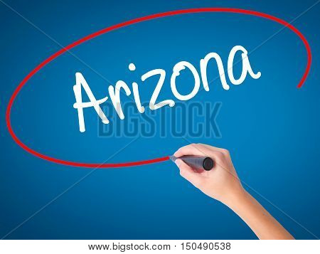 Women Hand Writing  Arizona  With Black Marker On Visual Screen
