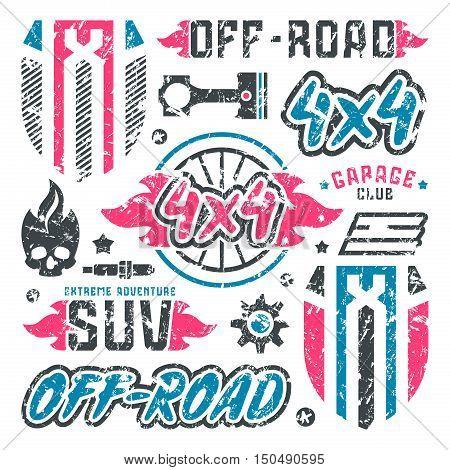 Stock Vector Set Of Off-road Car Badges