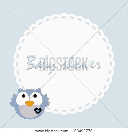 children's round frame with owl for congratulations. Template page for the album or scrapbook. Baby vector illustration. Baby shower or arrival