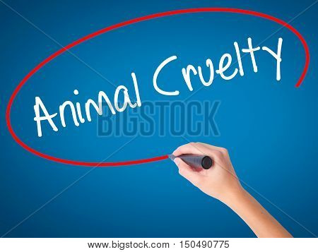 Women Hand Writing Animal Cruelty With Black Marker On Visual Screen