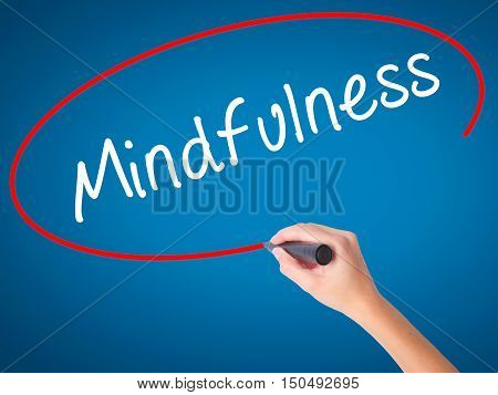 Women Hand Writing Mindfulness  With Black Marker On Visual Screen