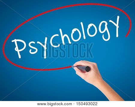Women Hand Writing Psychology With Black Marker On Visual Screen