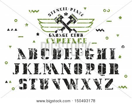 Stock vector set of serif stencil-plate font. Bold typeface with shabby texture