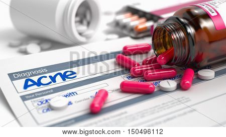 Acne Phrase in Disease Extract. Close View of Medical Concept. Handwritten Diagnosis Acne in the Anamnesis. Medicaments Composition of Red Pills, Blister of Pills and Bottle of Tablets. 3D.
