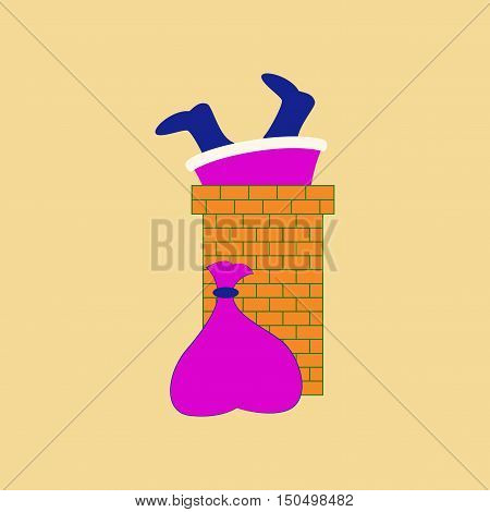 flat illustration on stylish background of Santa Claus in chimney