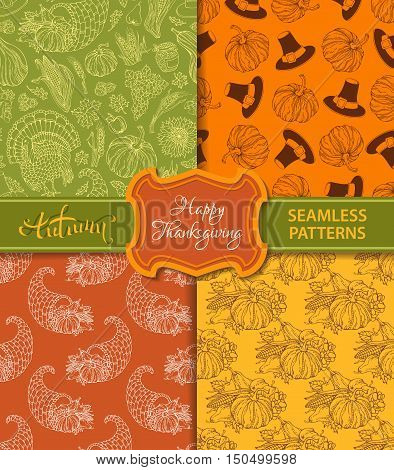 Vector Set Of Duotone Seamless Thanksgiving Patterns.