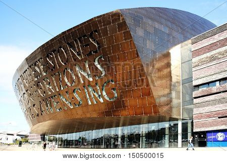 Cardiff, Wales, UK, September 14, 2016 :   The Wales Millennium Centre which opened in 2004 is an arts centre for opera, ballet, dance and theatre performances and a popular tourist attraction