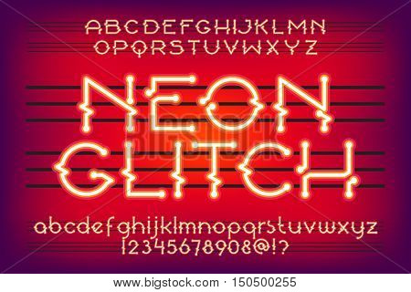Red neon Glitch Alphabet Vector Font. Neon tube letters on glow background.