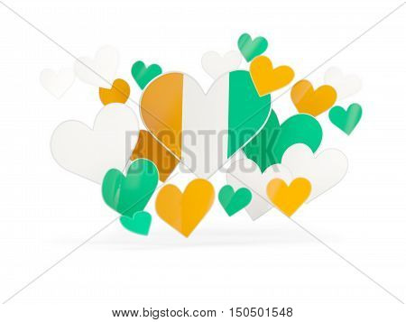 Flag Of Cote D Ivoire, Heart Shaped Stickers