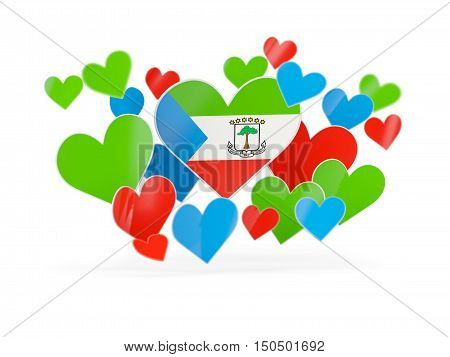 Flag Of Equatorial Guinea, Heart Shaped Stickers