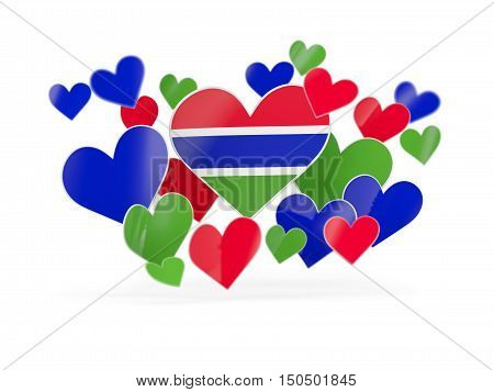 Flag Of Gambia, Heart Shaped Stickers