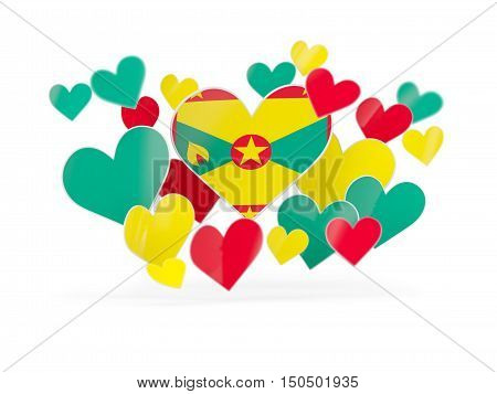 Flag Of Grenada, Heart Shaped Stickers