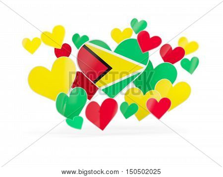 Flag Of Guyana, Heart Shaped Stickers