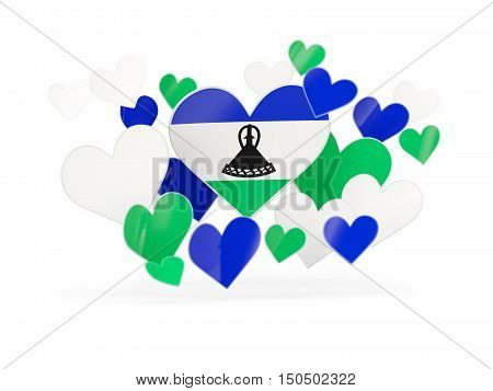 Flag Of Lesotho, Heart Shaped Stickers