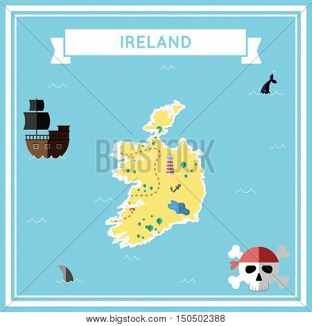 Flat Treasure Map Of Ireland. Colorful Cartoon With Icons Of Ship, Jolly Roger, Treasure Chest And B