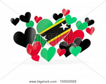 Flag Of Saint Kitts And Nevis, Heart Shaped Stickers