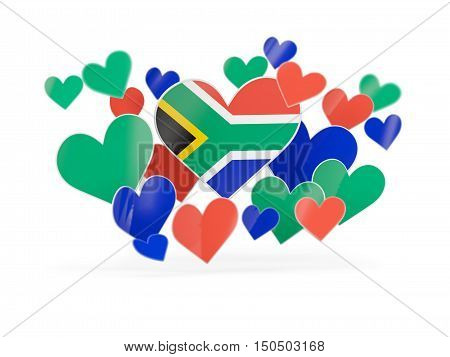 Flag Of South Africa, Heart Shaped Stickers