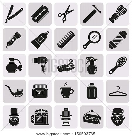 Set of Vector Barber Shop Elements and Shave Shop Icons Illustration can be used as Logo or Icon in premium quality