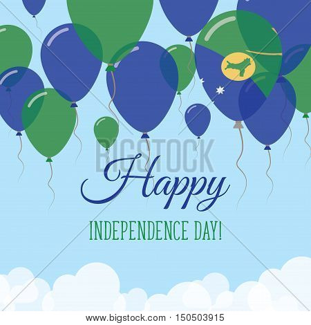 Christmas Island Independence Day Flat Greeting Card. Flying Rubber Balloons In Colors Of The Christ