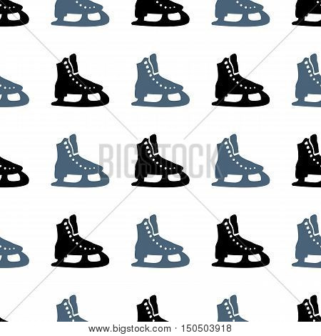 Winter Sport. Skates. Seamless Pattern. Ice Skating. Healthy Lifestyle. Icon. For Your Design