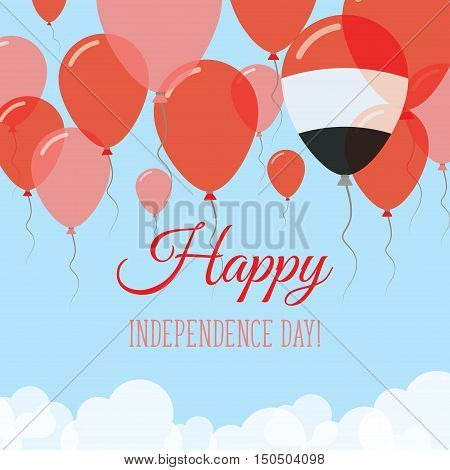 Yemen Independence Day Flat Greeting Card. Flying Rubber Balloons In Colors Of The Yemeni Flag. Happ