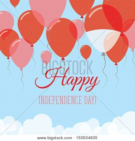Indonesia Independence Day Flat Greeting Card. Flying Rubber Balloons In Colors Of The Indonesian Fl